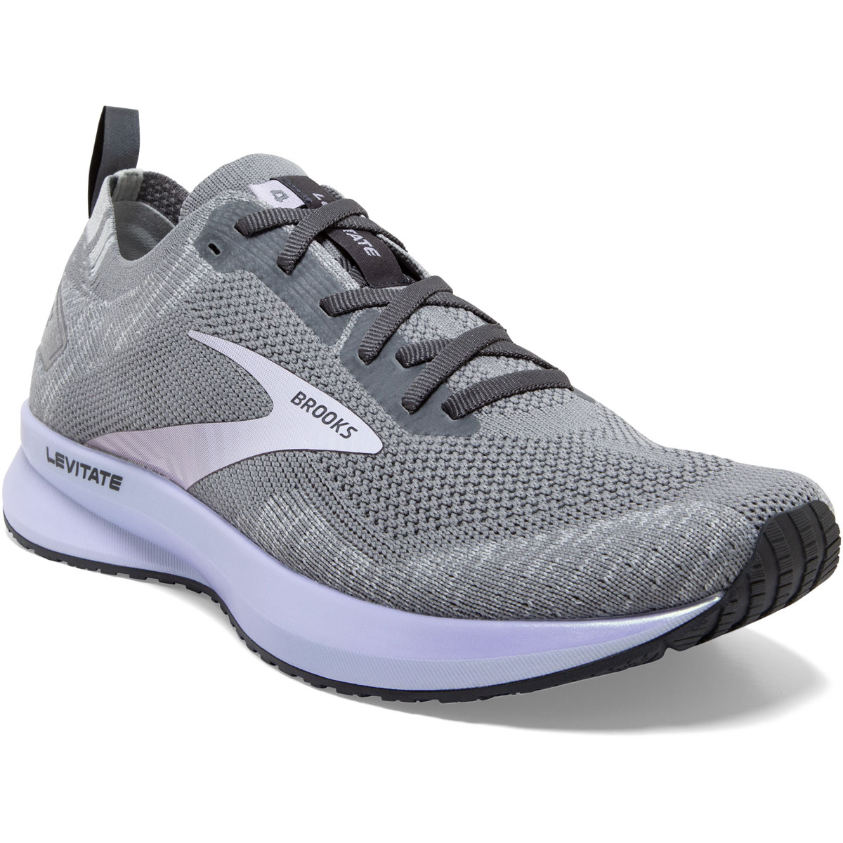 Women's Brooks Levitate 4 Running Shoe - Color: Grey/Blackened Pearl/Purple - Size: 5 - Width: Regular, Grey/Blackened Pearl/Purple, large, image 2