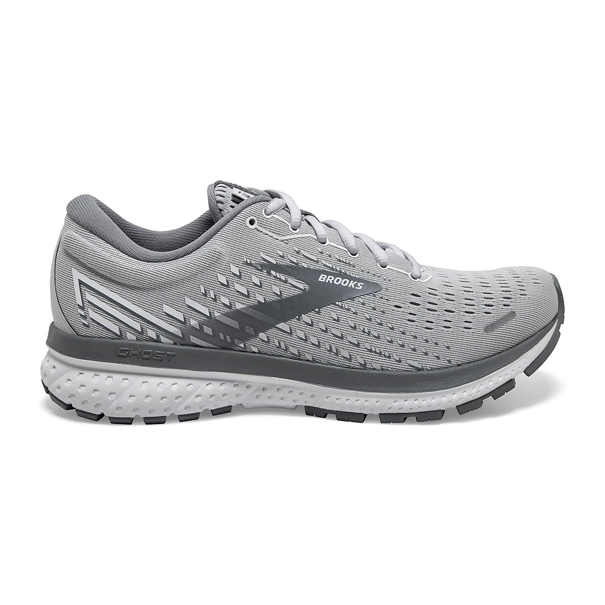 Women's Brooks Ghost 13 Running Shoe - Color: Alloy/Oyster/White - Size: 5 - Width: Regular, Alloy/Oyster/White, large, image 1