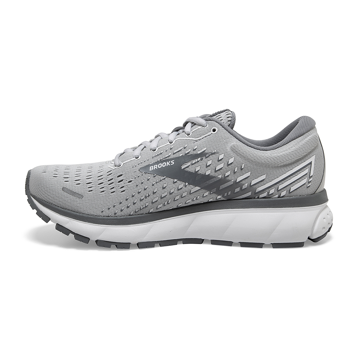 Women's Brooks Ghost 13 Running Shoe - Color: Alloy/Oyster/White - Size: 5 - Width: Regular, Alloy/Oyster/White, large, image 2