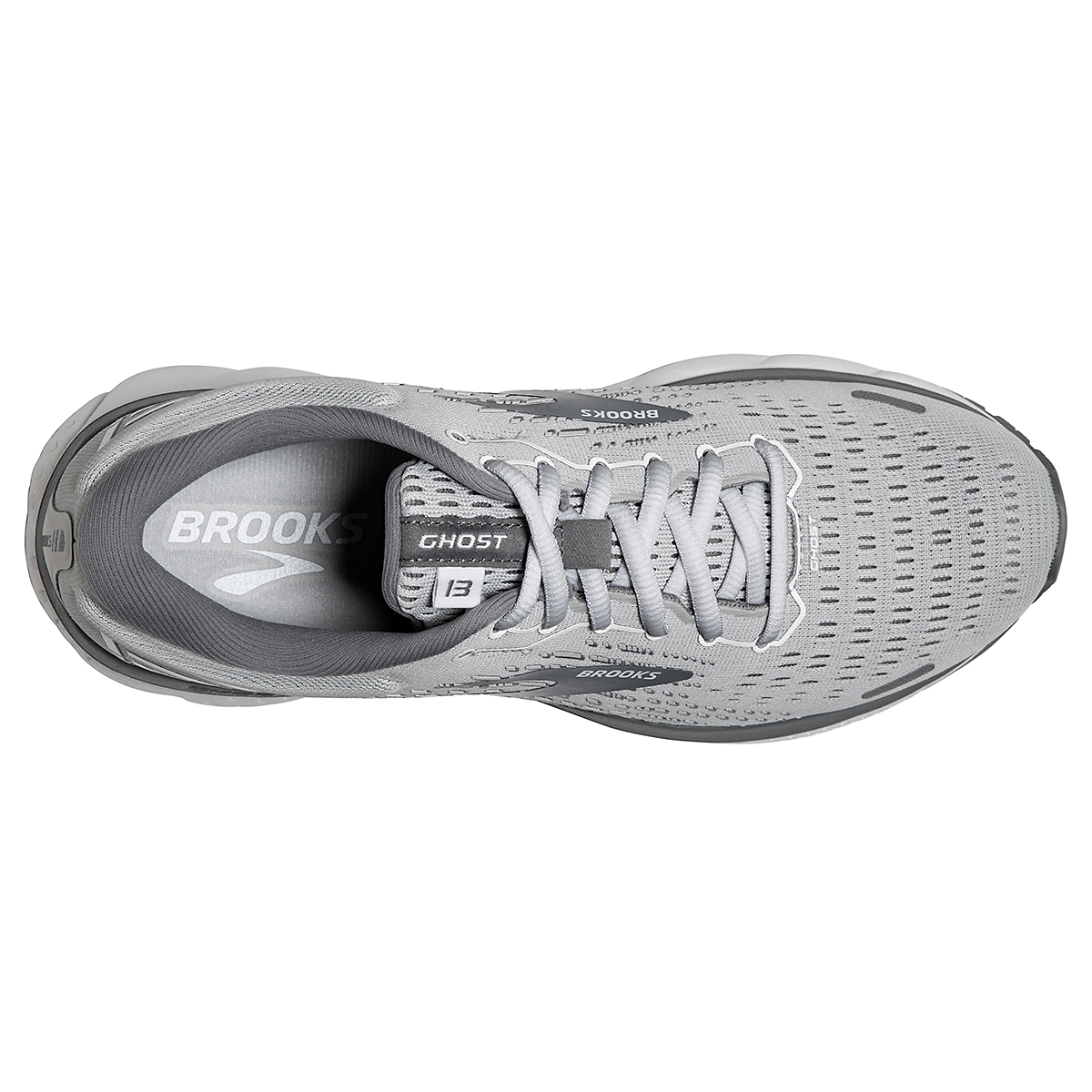Women's Brooks Ghost 13 Running Shoe - Color: Alloy/Oyster/White - Size: 5 - Width: Regular, Alloy/Oyster/White, large, image 3