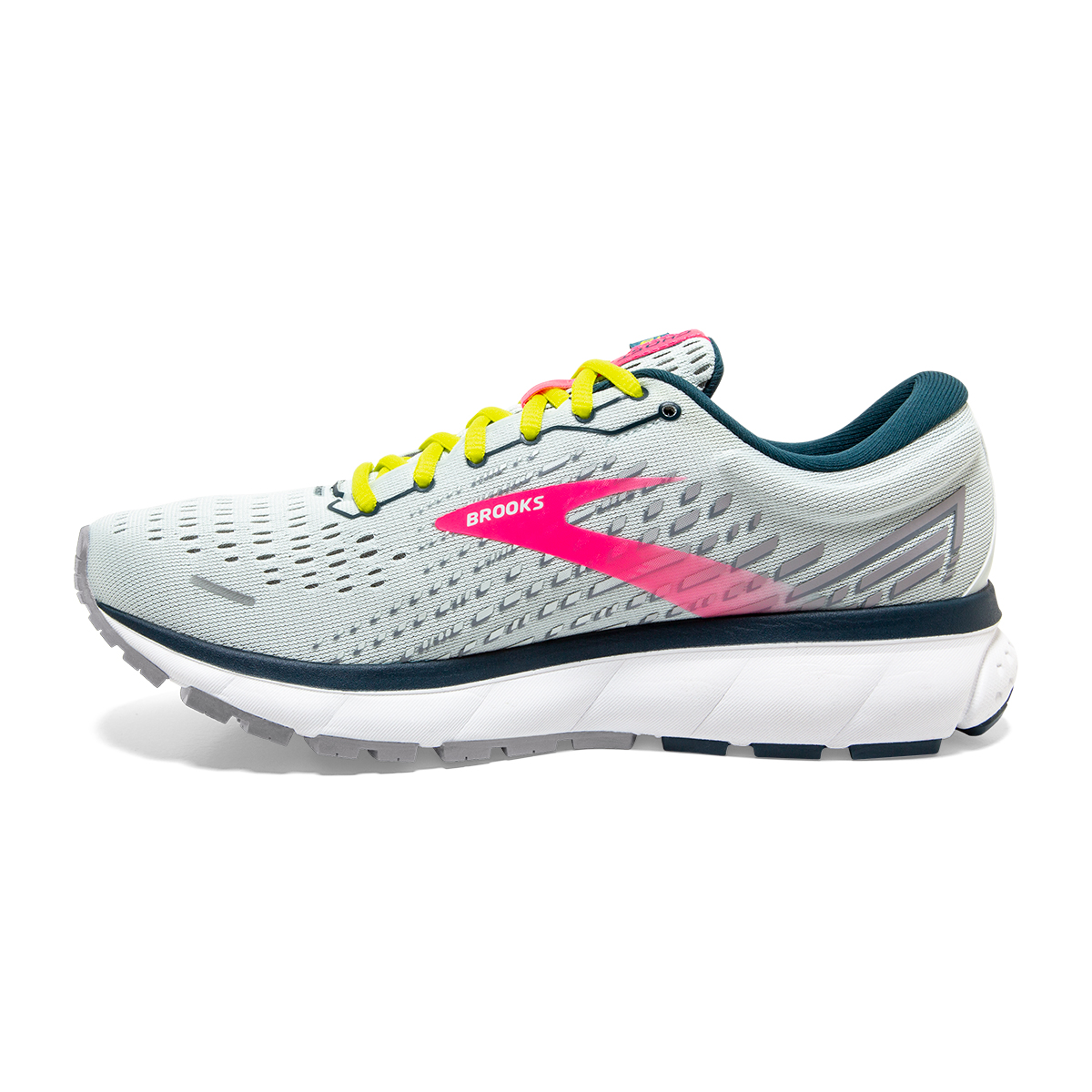 Women's Brooks Ghost 13 Running Shoes - Color: Ice Flow/Pink/Pond - Size: 5 - Width: Regular, Ice Flow/Pink/Pond, large, image 2