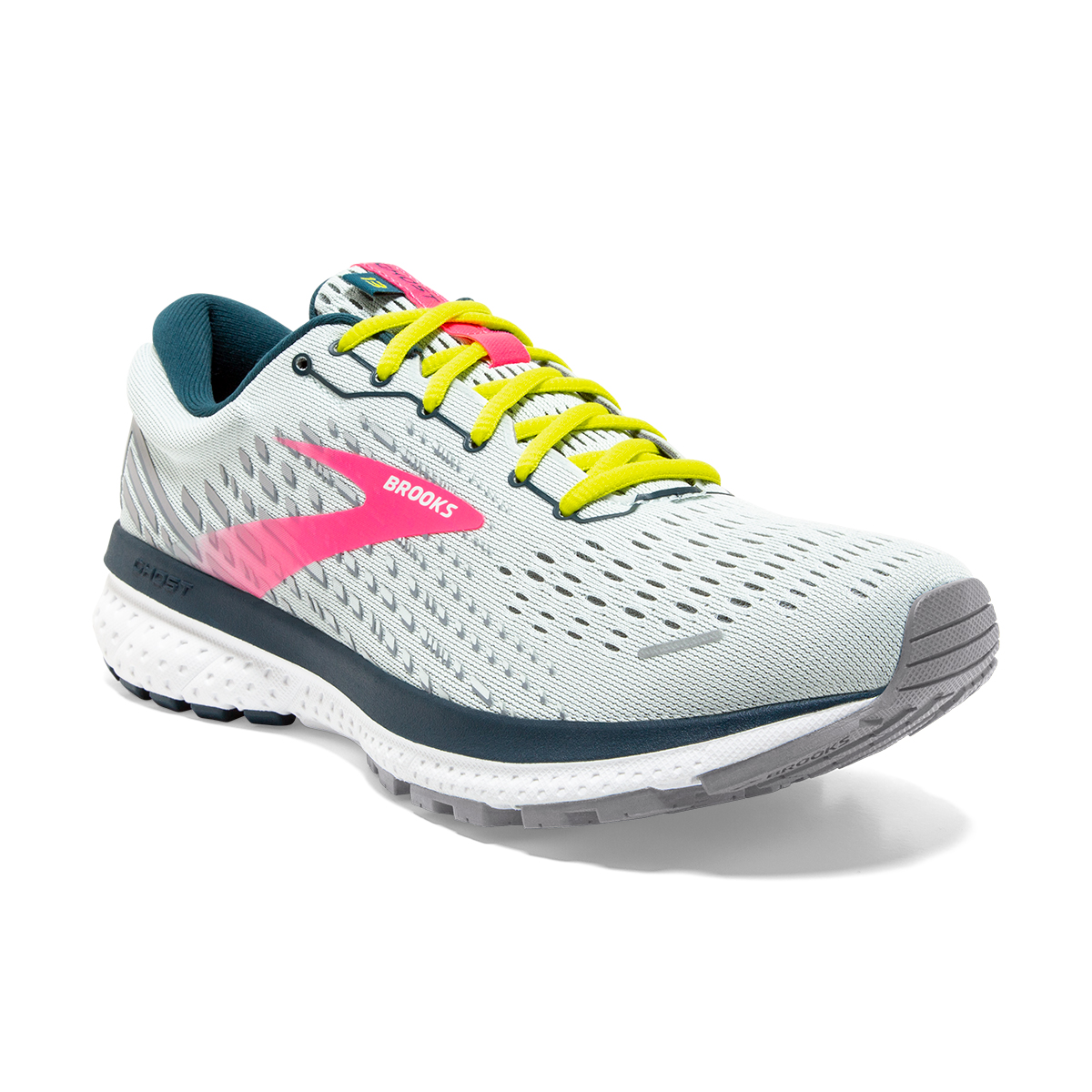 Women's Brooks Ghost 13 Running Shoes - Color: Ice Flow/Pink/Pond - Size: 5 - Width: Regular, Ice Flow/Pink/Pond, large, image 3