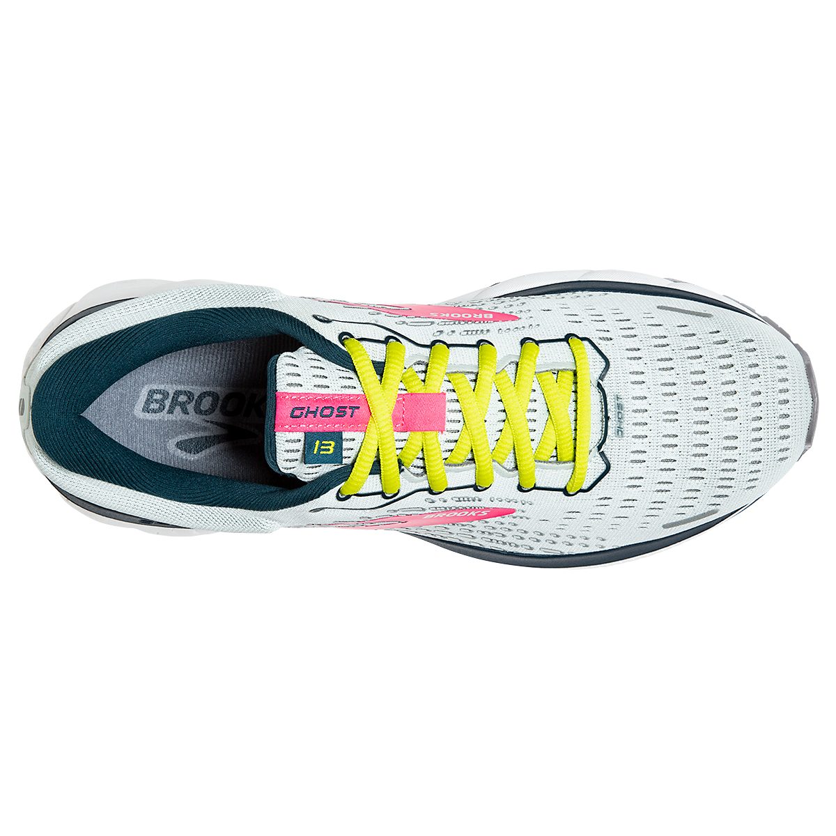 Women's Brooks Ghost 13 Running Shoes - Color: Ice Flow/Pink/Pond - Size: 5 - Width: Regular, Ice Flow/Pink/Pond, large, image 4