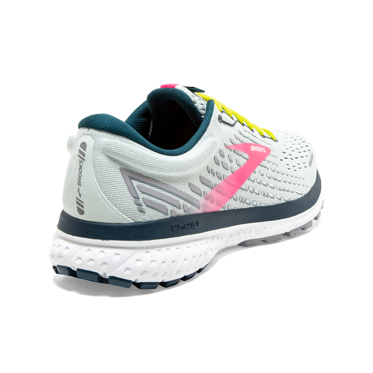 Women's Brooks Ghost 13 Running Shoes - Color: Ice Flow/Pink/Pond - Size: 5 - Width: Regular, Ice Flow/Pink/Pond, large, image 6