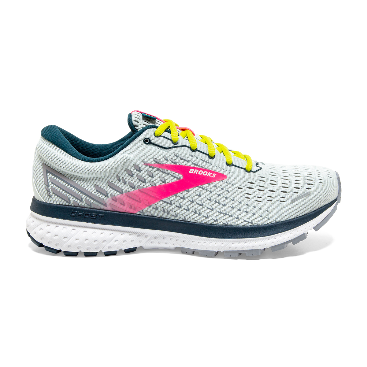 Women's Brooks Ghost 13 Running Shoes - Color: Ice Flow/Pink/Pond - Size: 5 - Width: Regular, Ice Flow/Pink/Pond, large, image 1