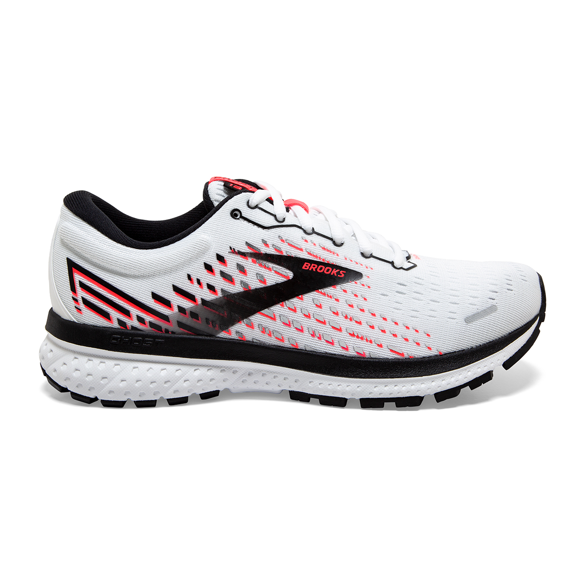 Women's Brooks Ghost 13 Running Shoe - Color: White/Pink/Black - Size: 5 - Width: Regular, White/Pink/Black, large, image 1