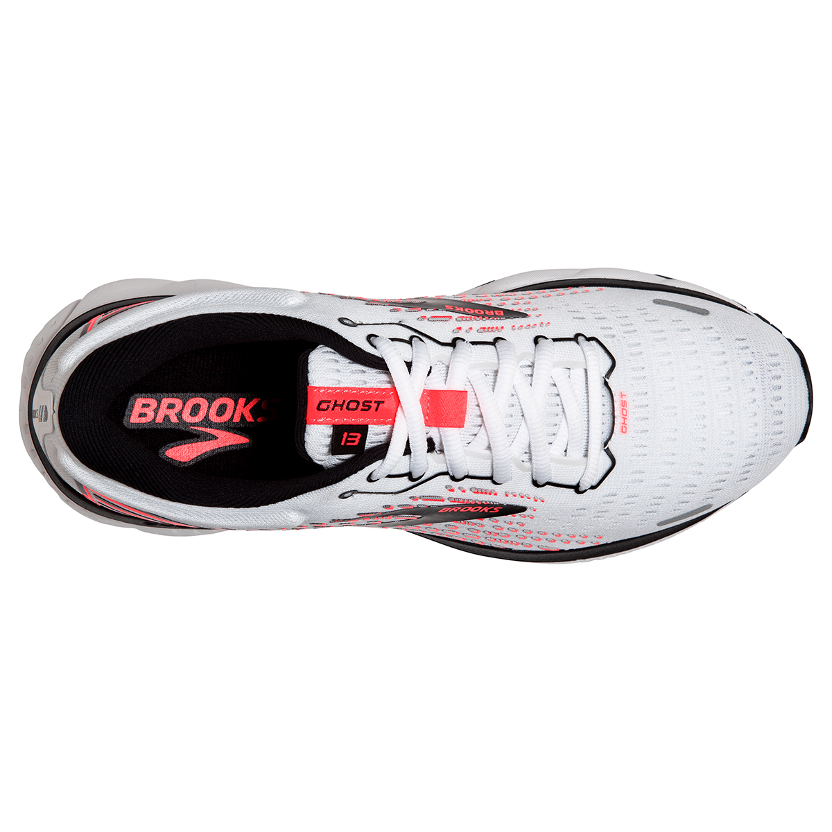 Women's Brooks Ghost 13 Running Shoe - Color: White/Pink/Black - Size: 5 - Width: Regular, White/Pink/Black, large, image 2