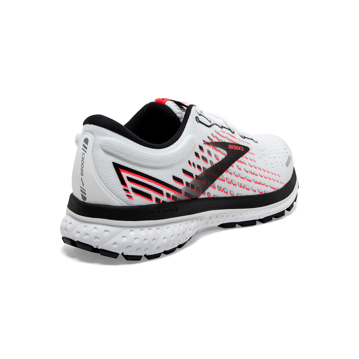 Women's Brooks Ghost 13 Running Shoe - Color: White/Pink/Black - Size: 5 - Width: Regular, White/Pink/Black, large, image 6