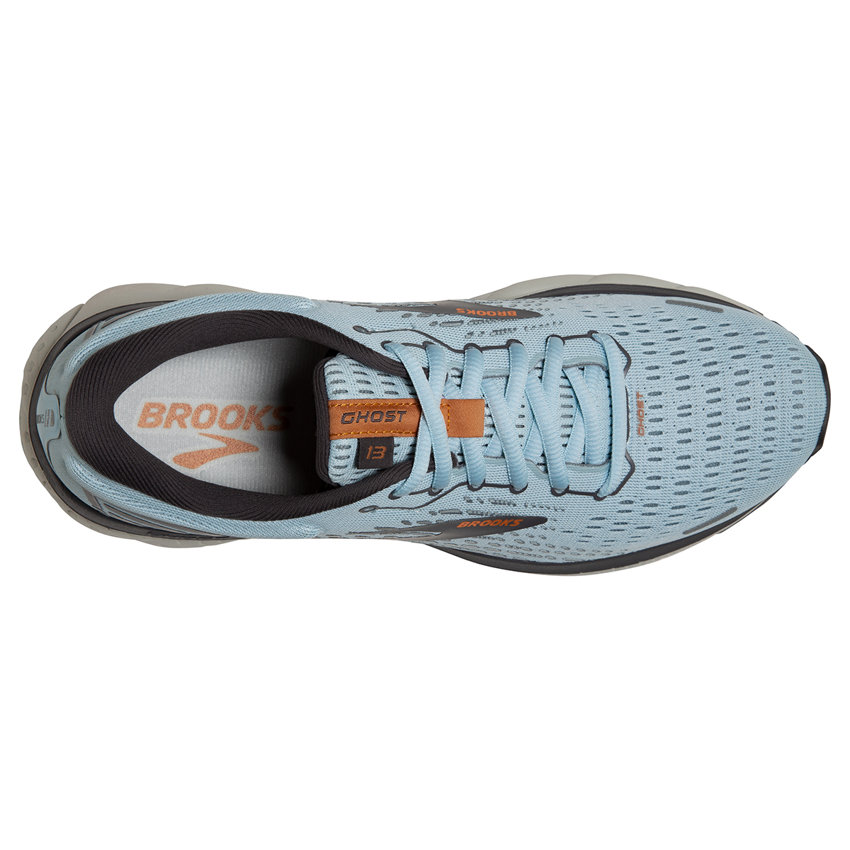 Women's Brooks Ghost 13 Running Shoe - Color: Light Blue/Black - Size: 5 - Width: Regular, Light Blue/Black, large, image 2