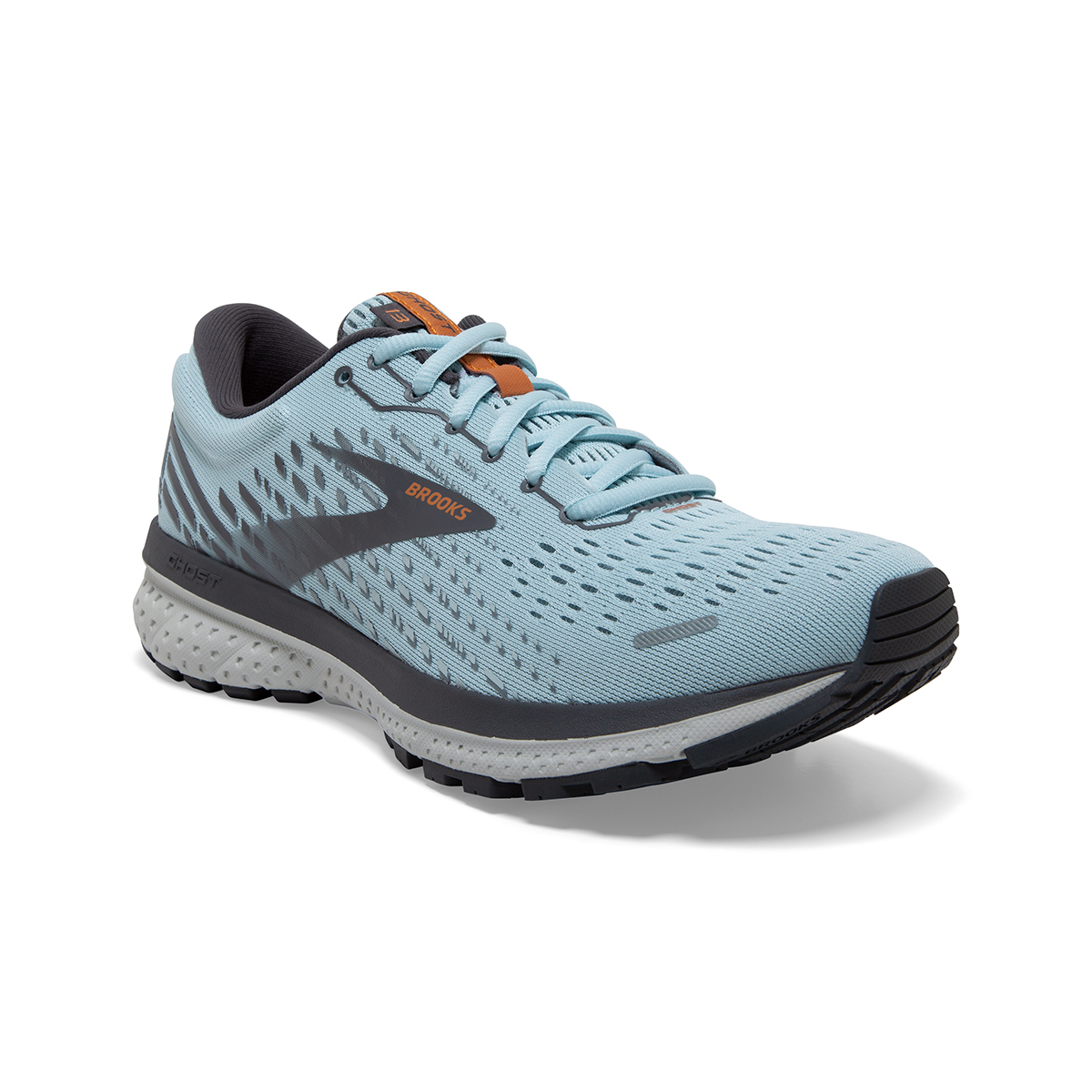 Women's Brooks Ghost 13 Running Shoe - Color: Light Blue/Black - Size: 5 - Width: Regular, Light Blue/Black, large, image 4