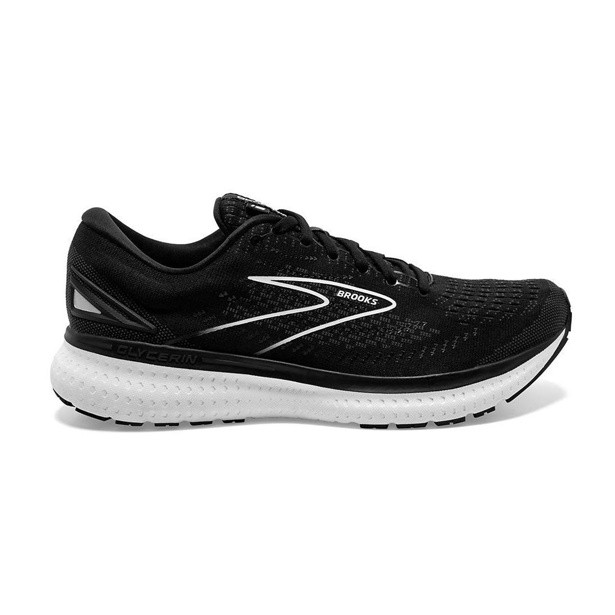 Women's Brooks Glycerin 19 Running Shoe - Color: Black/White - Size: 5 - Width: Regular, Black/White, large, image 1