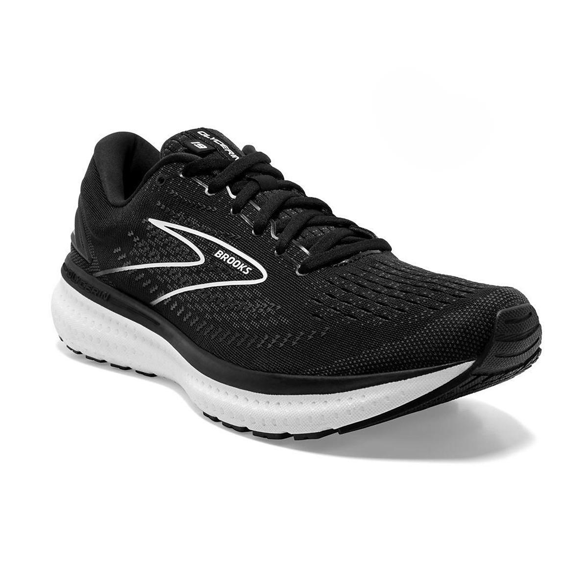 Women's Brooks Glycerin 19 Running Shoe - Color: Black/White - Size: 5 - Width: Regular, Black/White, large, image 3