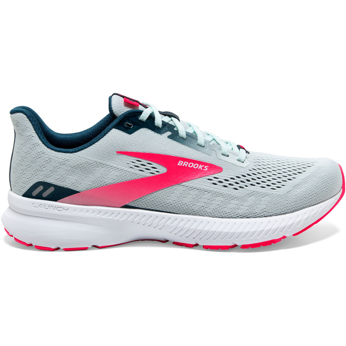 Women's Brooks Launch 8 Running Shoe - Color: Ice Flow/Navy/Pink - Size: 5 - Width: Regular, Ice Flow/Navy/Pink, large, image 1