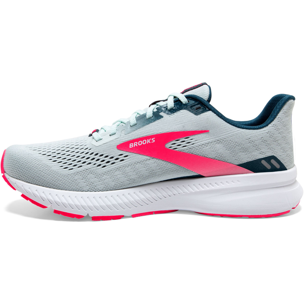 Women's Brooks Launch 8 Running Shoe - Color: Ice Flow/Navy/Pink - Size: 5 - Width: Regular, Ice Flow/Navy/Pink, large, image 2