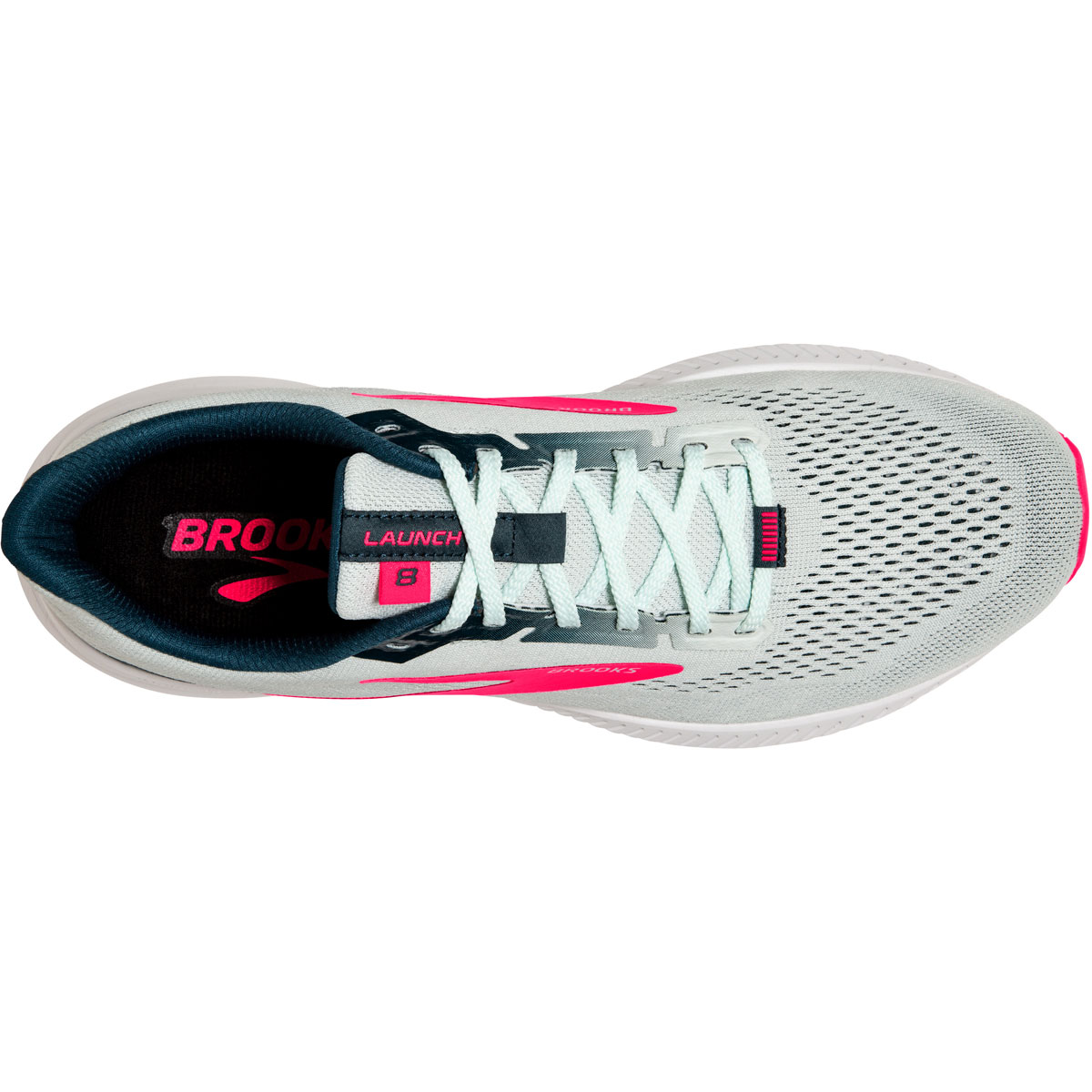 Women's Brooks Launch 8 Running Shoe - Color: Ice Flow/Navy/Pink - Size: 5 - Width: Regular, Ice Flow/Navy/Pink, large, image 4
