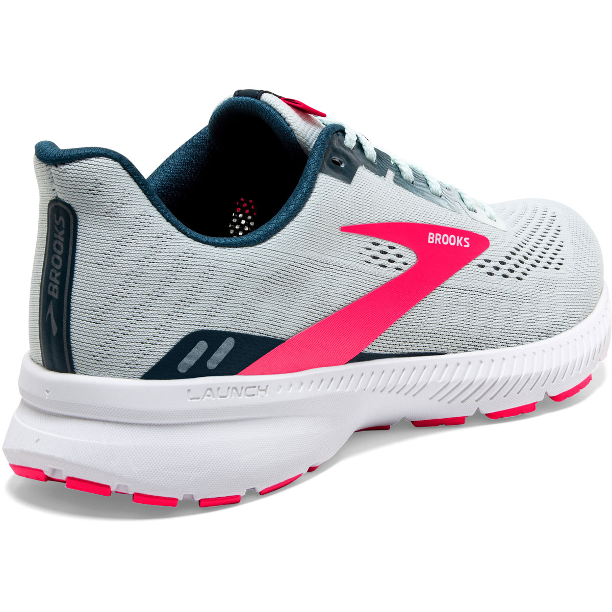 Women's Brooks Launch 8 Running Shoe - Color: Ice Flow/Navy/Pink - Size: 5 - Width: Regular, Ice Flow/Navy/Pink, large, image 5