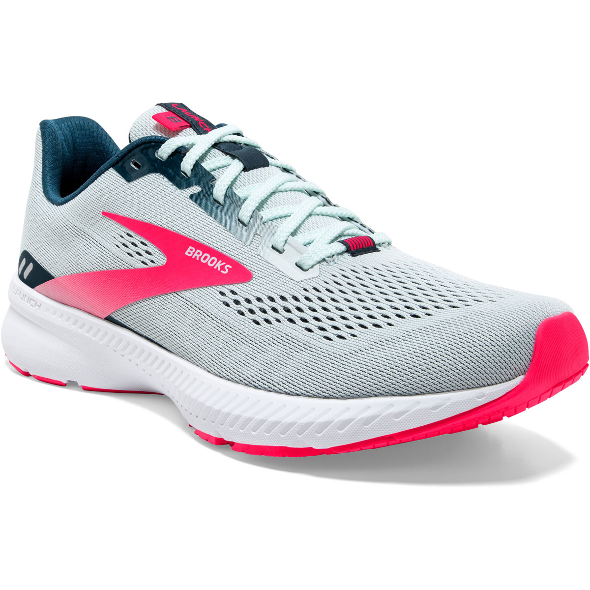 Women's Brooks Launch 8 Running Shoe - Color: Ice Flow/Navy/Pink - Size: 5 - Width: Regular, Ice Flow/Navy/Pink, large, image 6