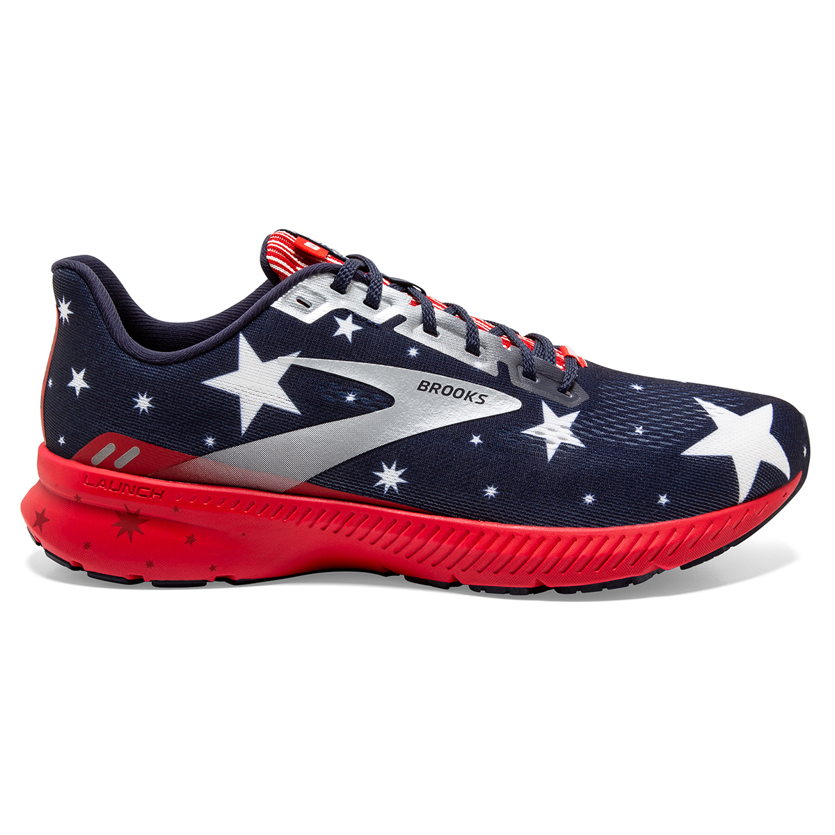 Women's Brooks Launch 8 Running Shoe - Color: Blue/Red/Silver - Size: 5 - Width: Regular, Blue/Red/Silver, large, image 1