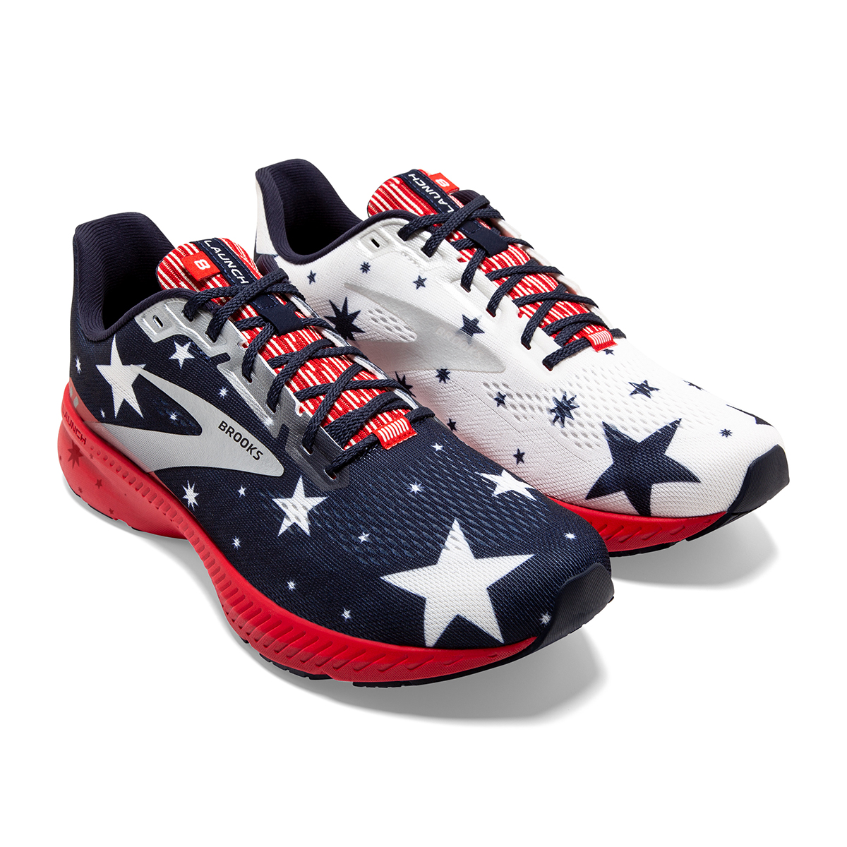 Women's Brooks Launch 8 Running Shoe - Color: Blue/Red/Silver - Size: 5 - Width: Regular, Blue/Red/Silver, large, image 3