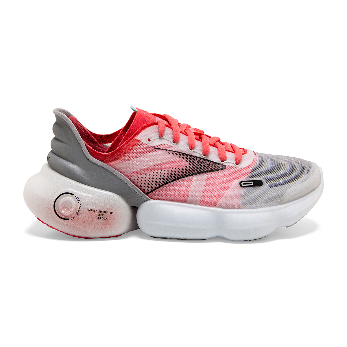 Women's Brooks Aurora-BL Running Shoe - Color: Grey/Coral/Black - Size: 5 - Width: Regular, Grey/Coral/Black, large, image 1