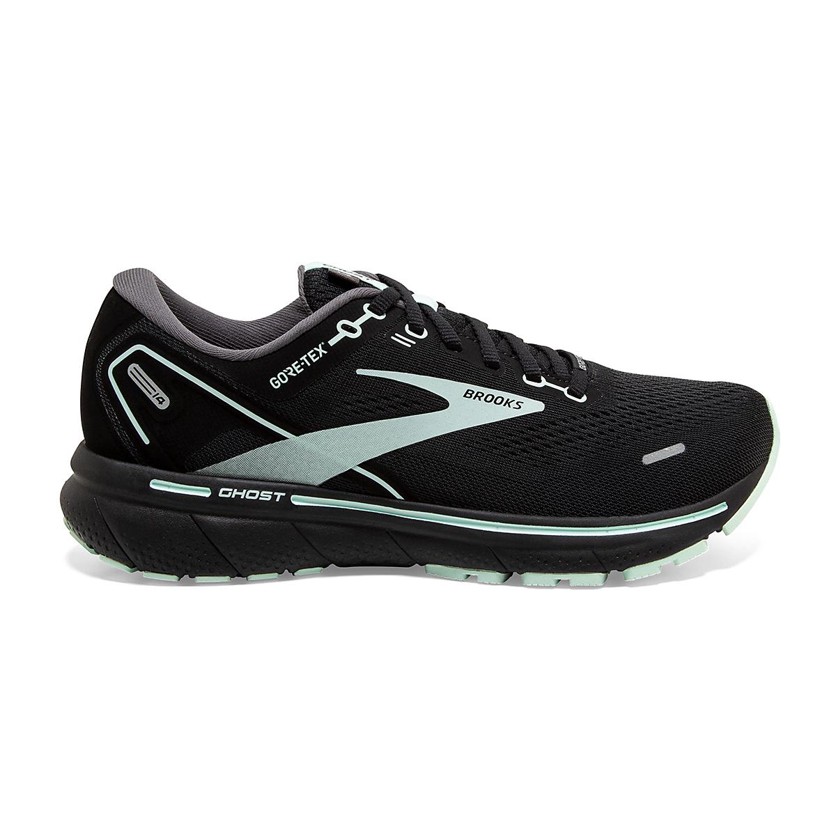 Women's Brooks Ghost 14 Gore-Tex Running Shoe - Color: Black/Blackened Pearl/Aquaglass - Size: 5 - Width: Regular, Black/Blackened Pearl/Aquaglass, large, image 1