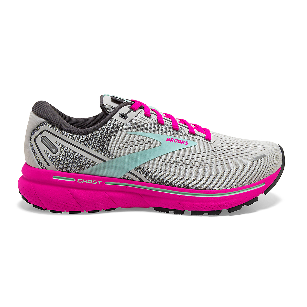 Women's Brooks Ghost 14 Running Shoe - Color: Oyster/Yucca/Pink - Size: 5 - Width: Regular, Oyster/Yucca/Pink, large, image 1
