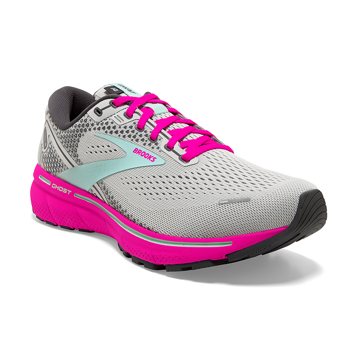Women's Brooks Ghost 14 Running Shoe - Color: Oyster/Yucca/Pink - Size: 5 - Width: Regular, Oyster/Yucca/Pink, large, image 2