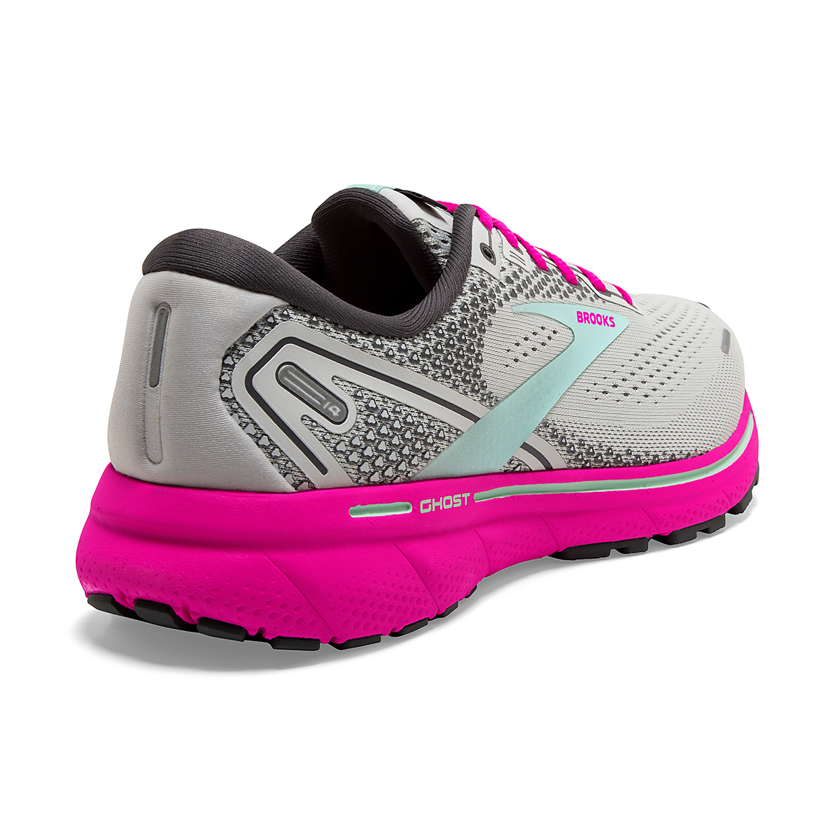Women's Brooks Ghost 14 Running Shoe - Color: Oyster/Yucca/Pink - Size: 5 - Width: Regular, Oyster/Yucca/Pink, large, image 3