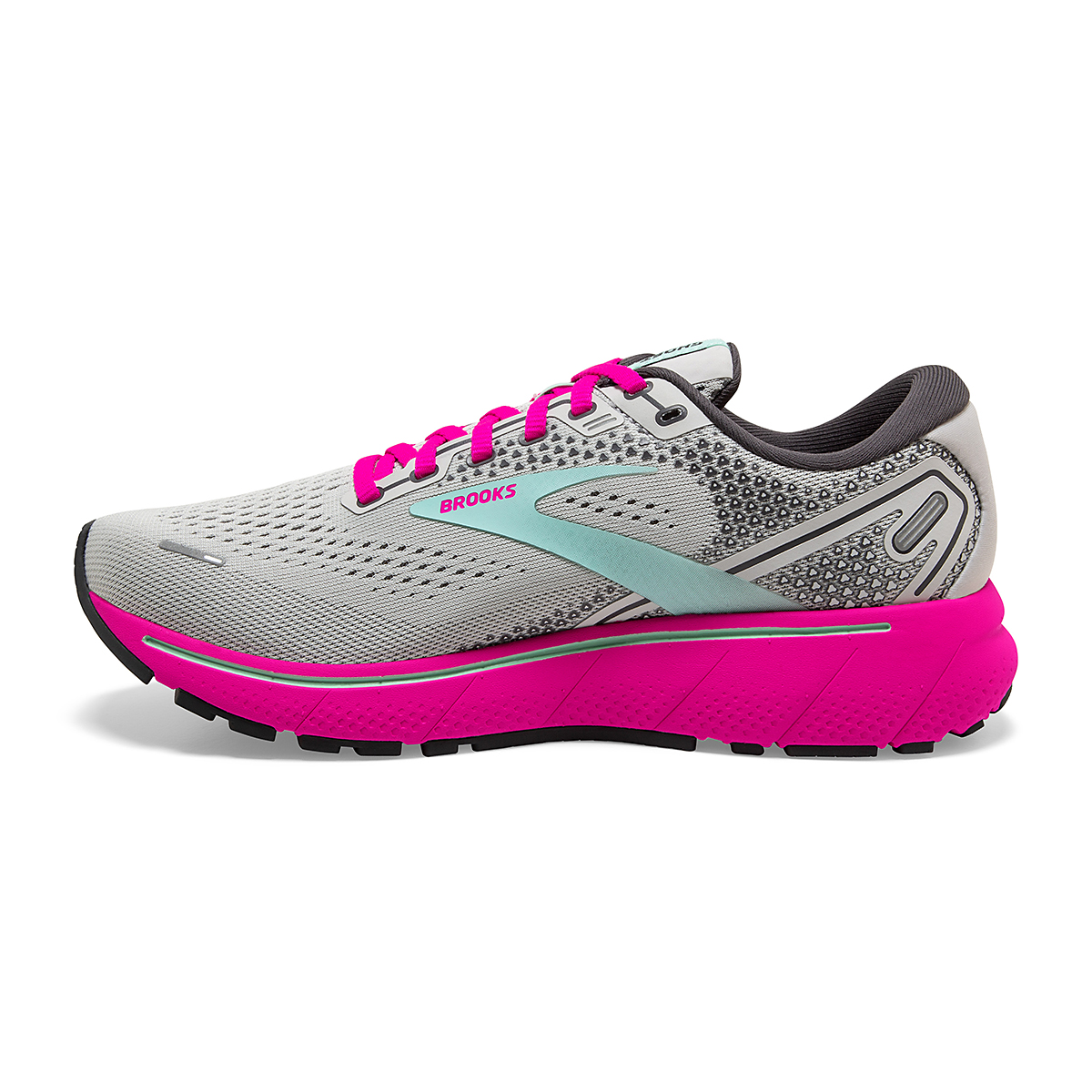 Women's Brooks Ghost 14 Running Shoe - Color: Oyster/Yucca/Pink - Size: 5 - Width: Regular, Oyster/Yucca/Pink, large, image 4