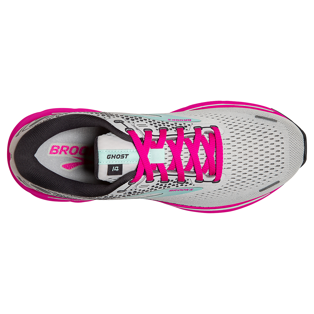 Women's Brooks Ghost 14 Running Shoe - Color: Oyster/Yucca/Pink - Size: 5 - Width: Regular, Oyster/Yucca/Pink, large, image 5