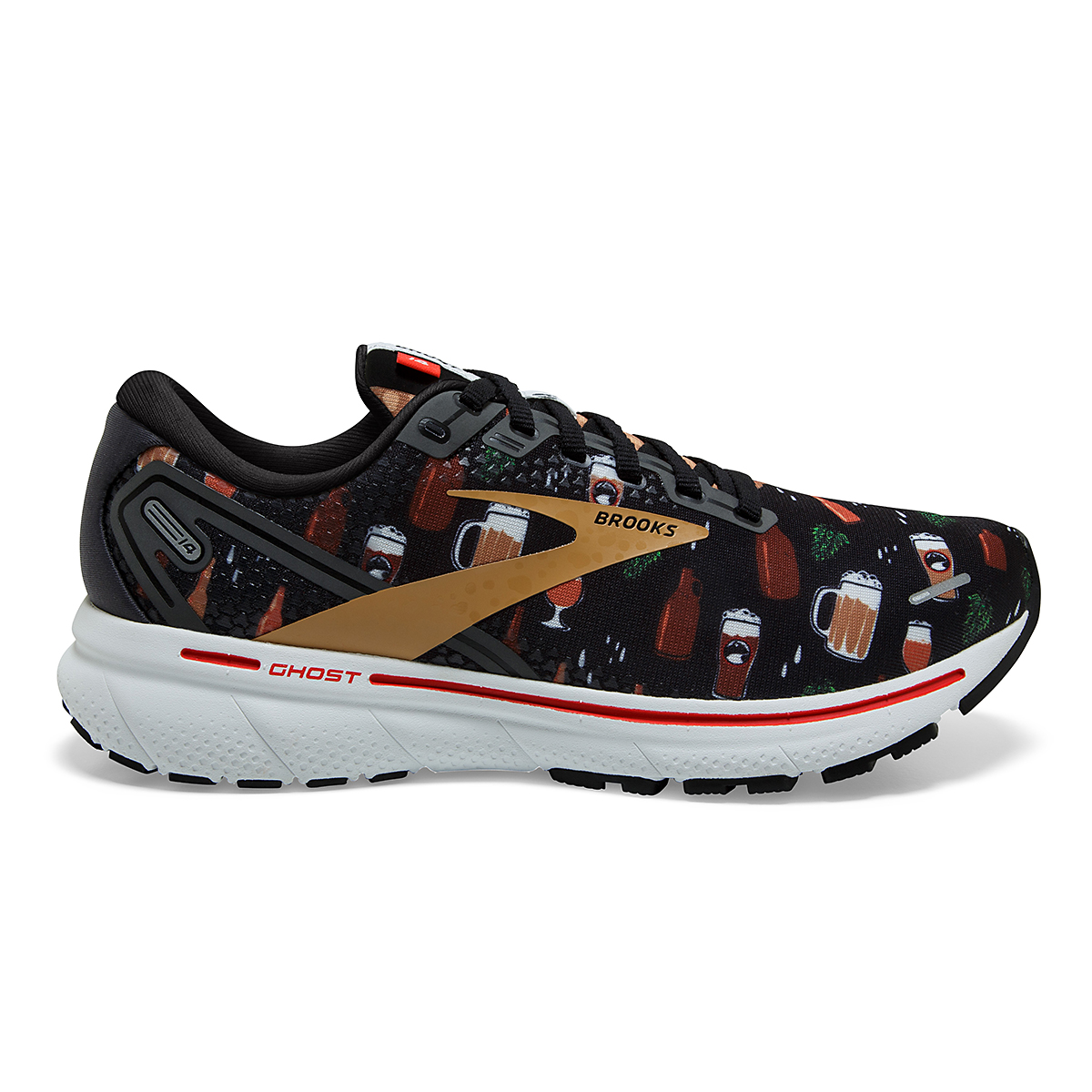 Women's Brooks Ghost 14 Running Shoe - Color: Run Hoppy - Size: 5 - Width: Regular, Run Hoppy, large, image 1