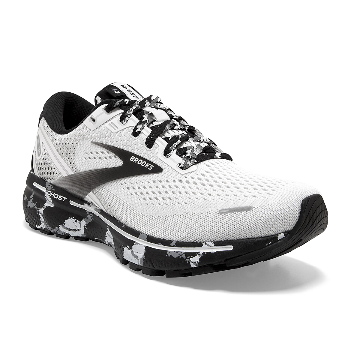 Women's Brooks Ghost 14 Running Shoe - Color: White/Grey/Black - Size: 5 - Width: Regular, White/Grey/Black, large, image 2