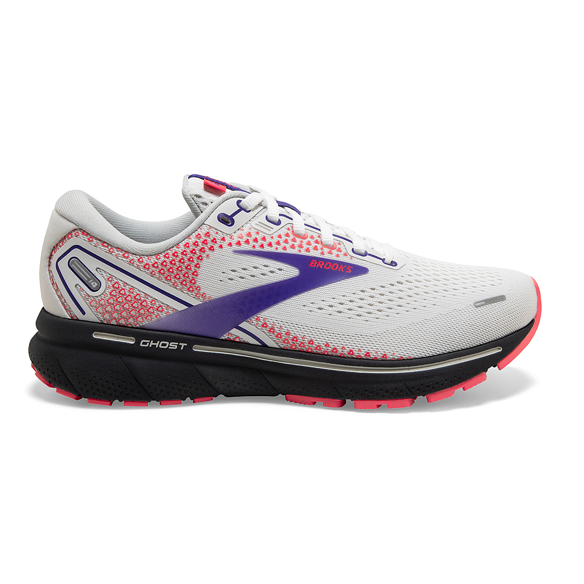Women's Brooks Ghost 14 Running Shoe - Color: White/Purple/Coral - Size: 5 - Width: Regular, White/Purple/Coral, large, image 1