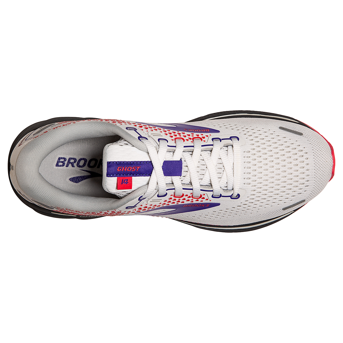 Women's Brooks Ghost 14 Running Shoe - Color: White/Purple/Coral - Size: 5 - Width: Regular, White/Purple/Coral, large, image 3