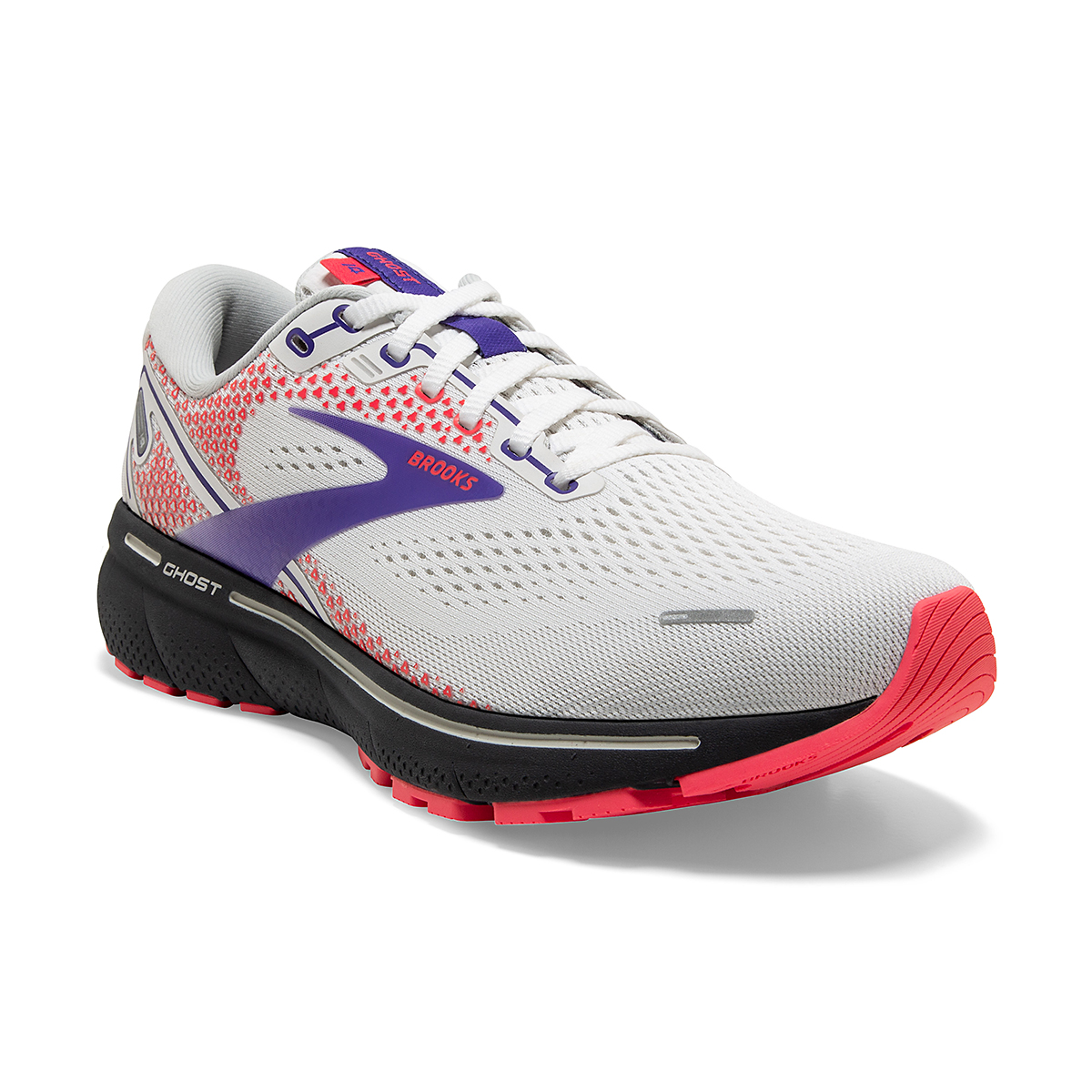 Women's Brooks Ghost 14 Running Shoe - Color: White/Purple/Coral - Size: 5 - Width: Regular, White/Purple/Coral, large, image 5