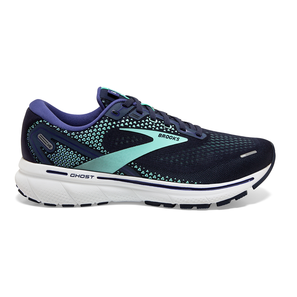 Women's Brooks Ghost 14 Running Shoe - Color: Peacoat/Yucca - Size: 5 - Width: Regular, Peacoat/Yucca, large, image 1