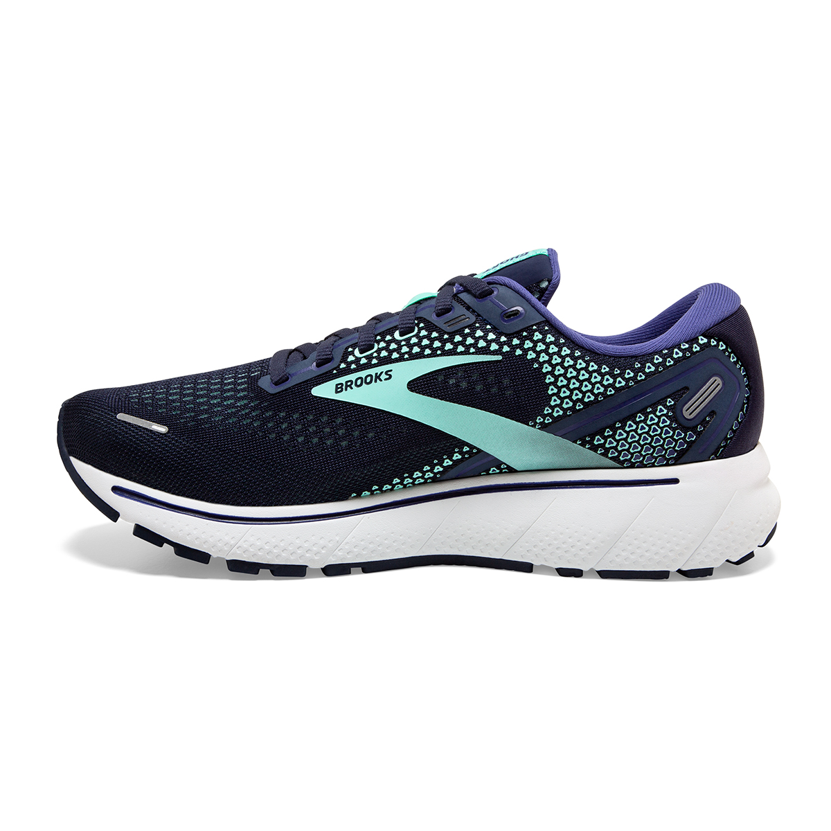 Women's Brooks Ghost 14 Running Shoe - Color: Peacoat/Yucca - Size: 5 - Width: Regular, Peacoat/Yucca, large, image 2