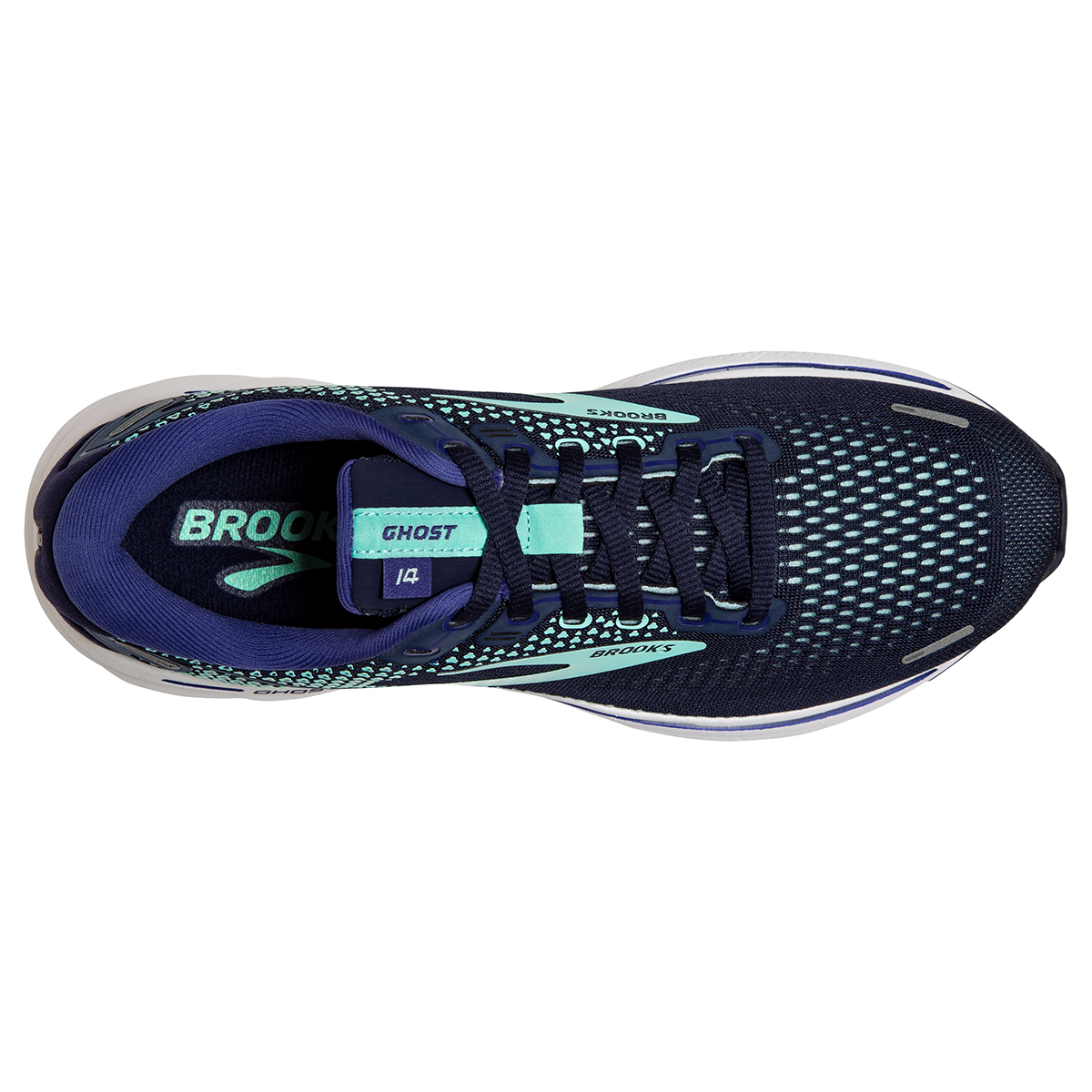 Women's Brooks Ghost 14 Running Shoe - Color: Peacoat/Yucca - Size: 5 - Width: Regular, Peacoat/Yucca, large, image 3