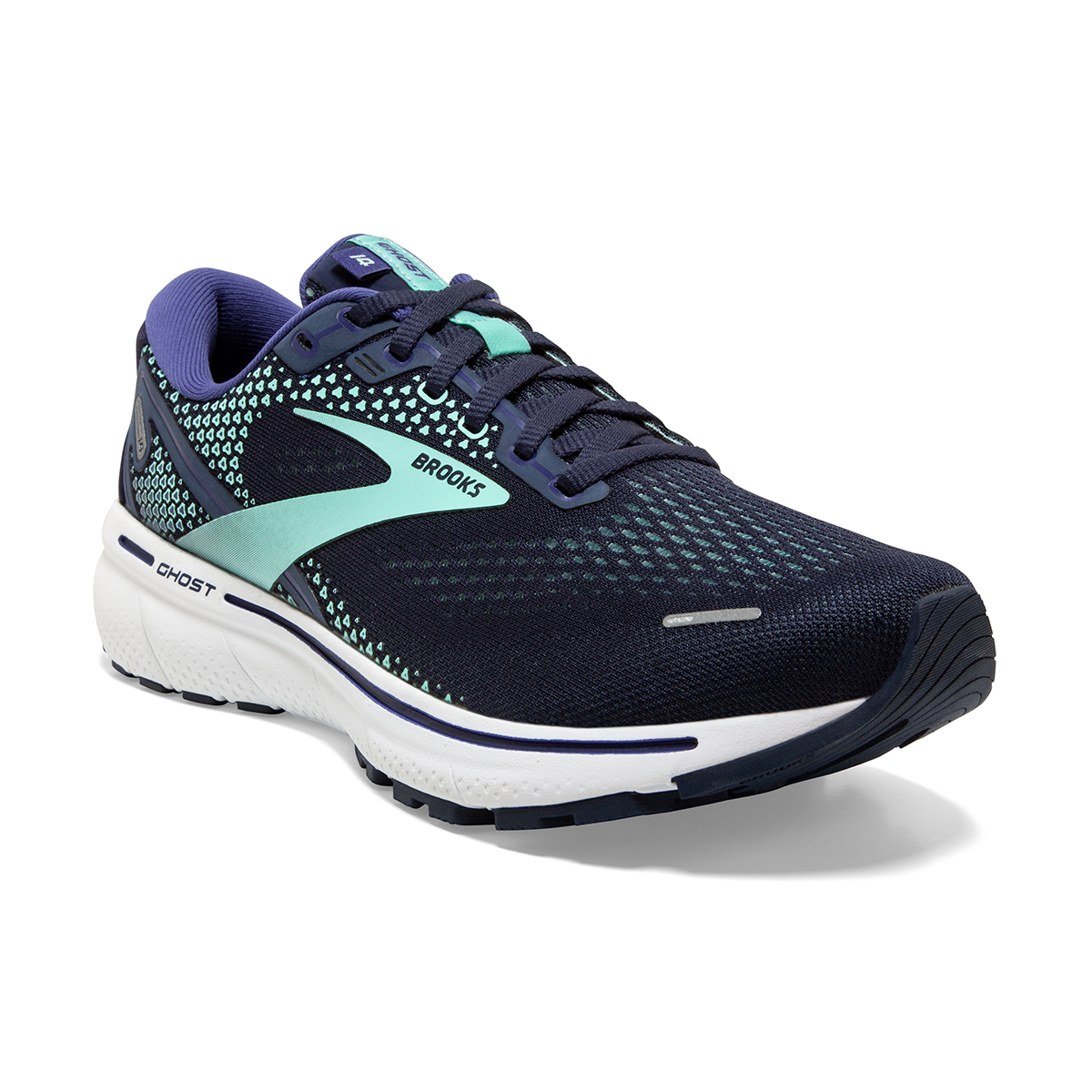 Women's Brooks Ghost 14 Running Shoe - Color: Peacoat/Yucca - Size: 5 - Width: Regular, Peacoat/Yucca, large, image 5