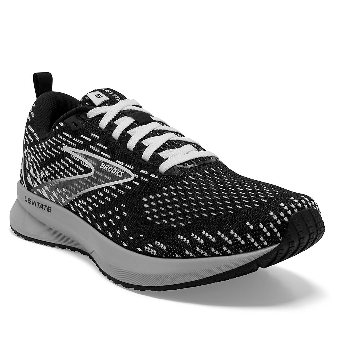 Women's Brooks Levitate 5 Running Shoe - Color: Black/Grey/White - Size: 5 - Width: Regular, Black/Grey/White, large, image 2