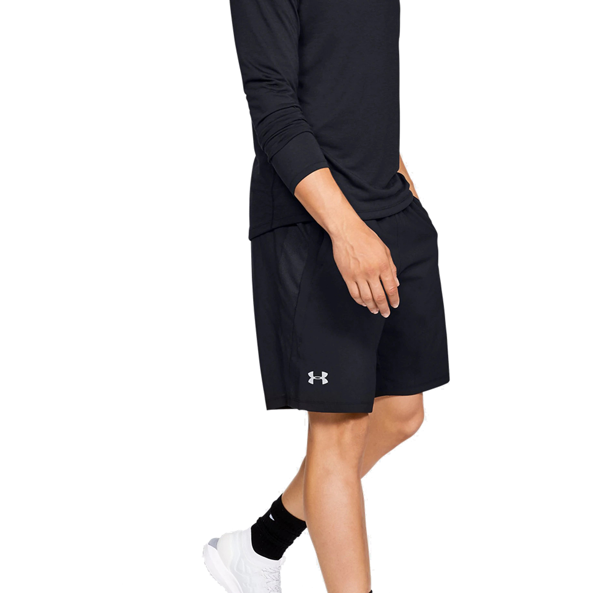 Men's Under Armour Launch SW 9in Shorts - Color: Black/Black/Reflective - Size: S, Black/Reflective, large, image 1
