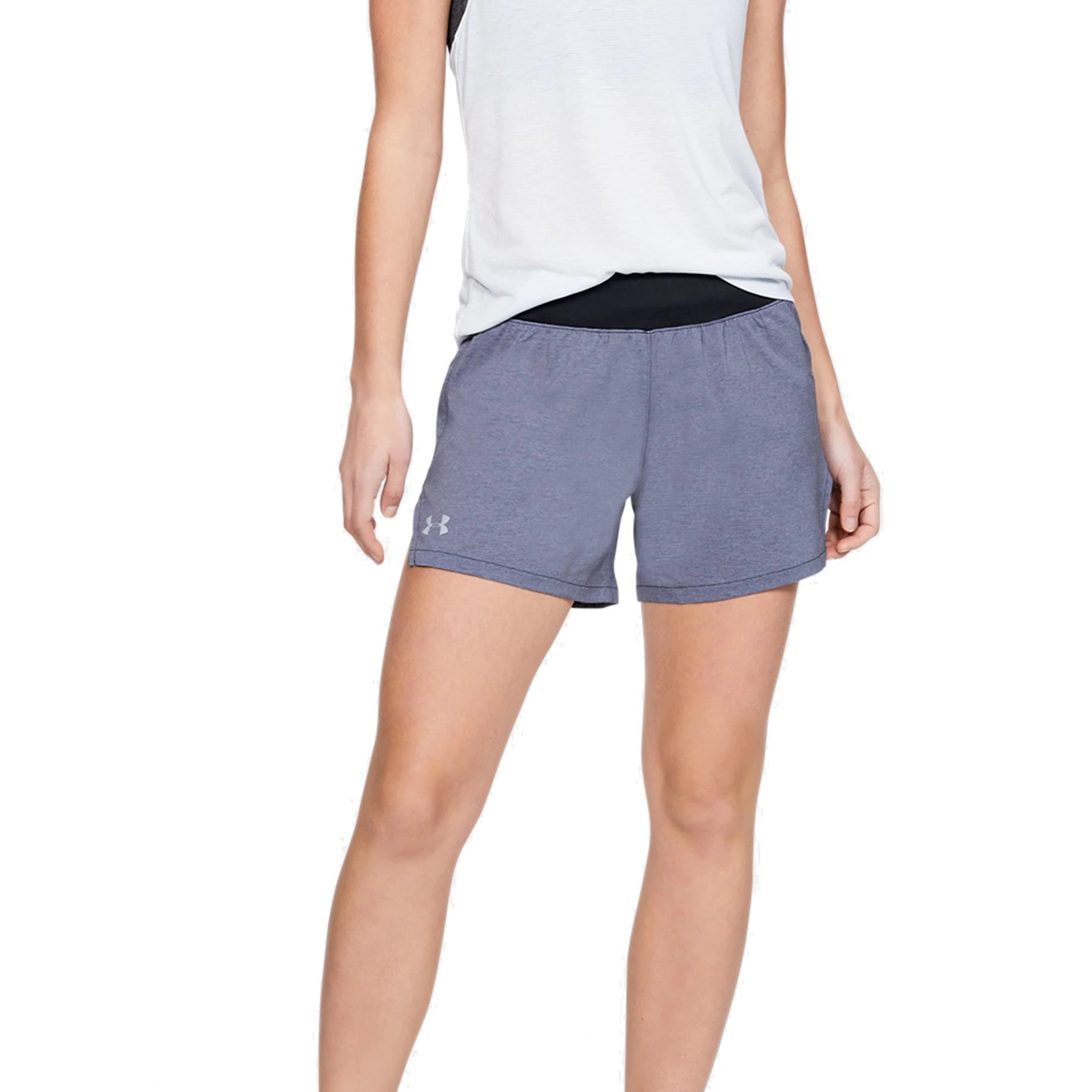 Women's Under Armour Launch SW 5in Shorts - Color: Black Full Heather/Black/Reflective - Size: S, Black Full Heather/Black/Reflective, large, image 1