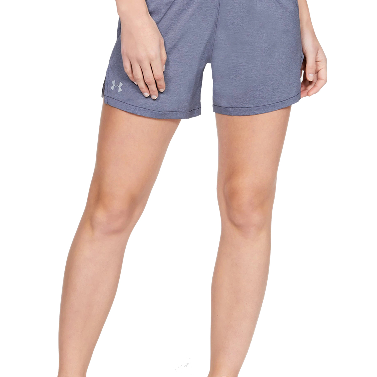 Women's Under Armour Launch SW 5in Shorts - Color: Black Full Heather/Black/Reflective - Size: S, Black Full Heather/Black/Reflective, large, image 2