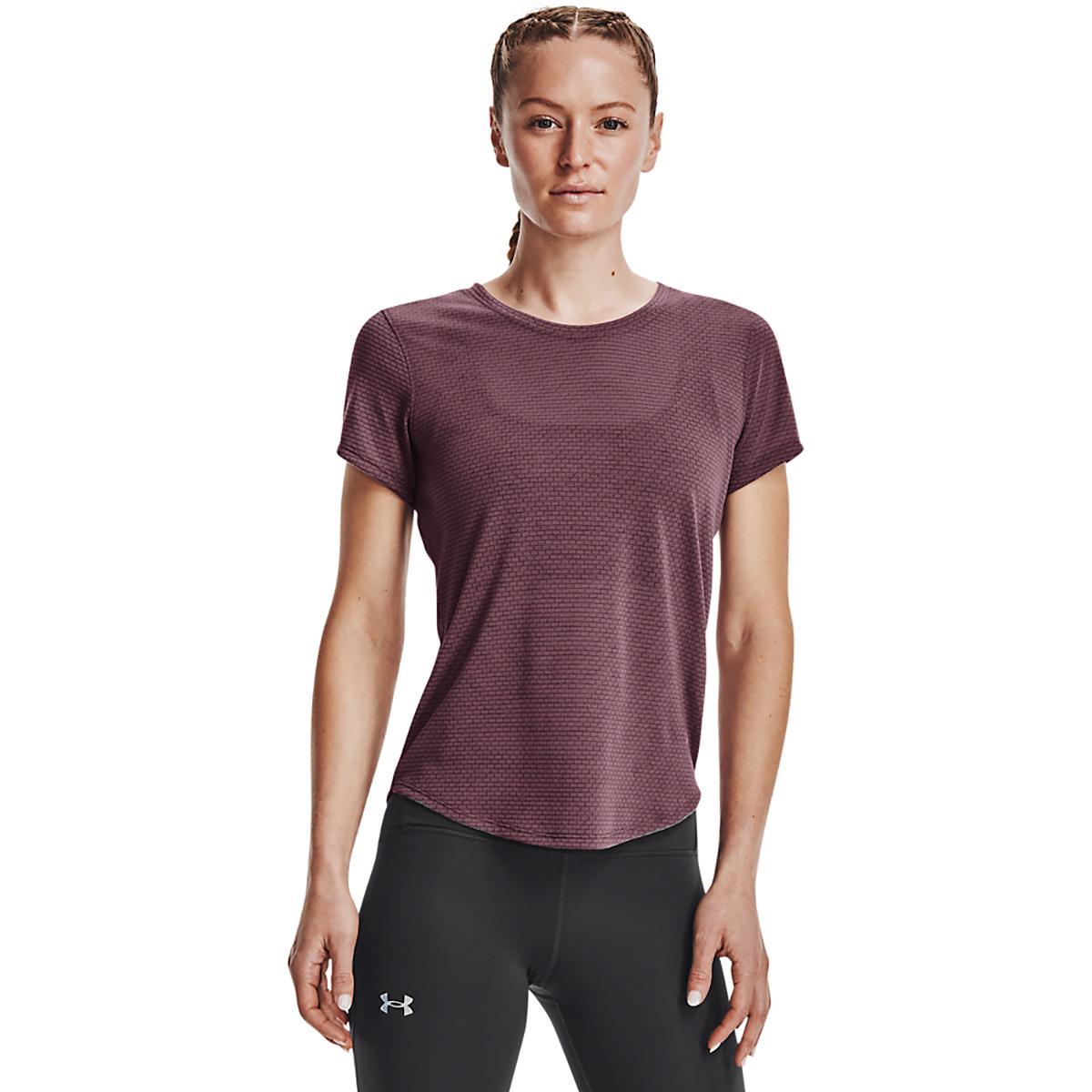 Women's Under Armour Streaker Short Sleeve Top - Color: Ash Plum/Ash Plum/Reflective - Size: XS, Ash Plum/Ash Plum/Reflective, large, image 1