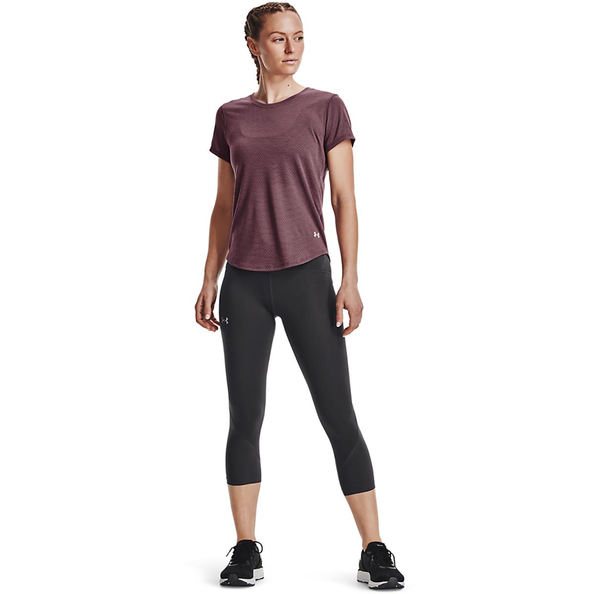 Women's Under Armour Streaker Short Sleeve Top - Color: Ash Plum/Ash Plum/Reflective - Size: XS, Ash Plum/Ash Plum/Reflective, large, image 3