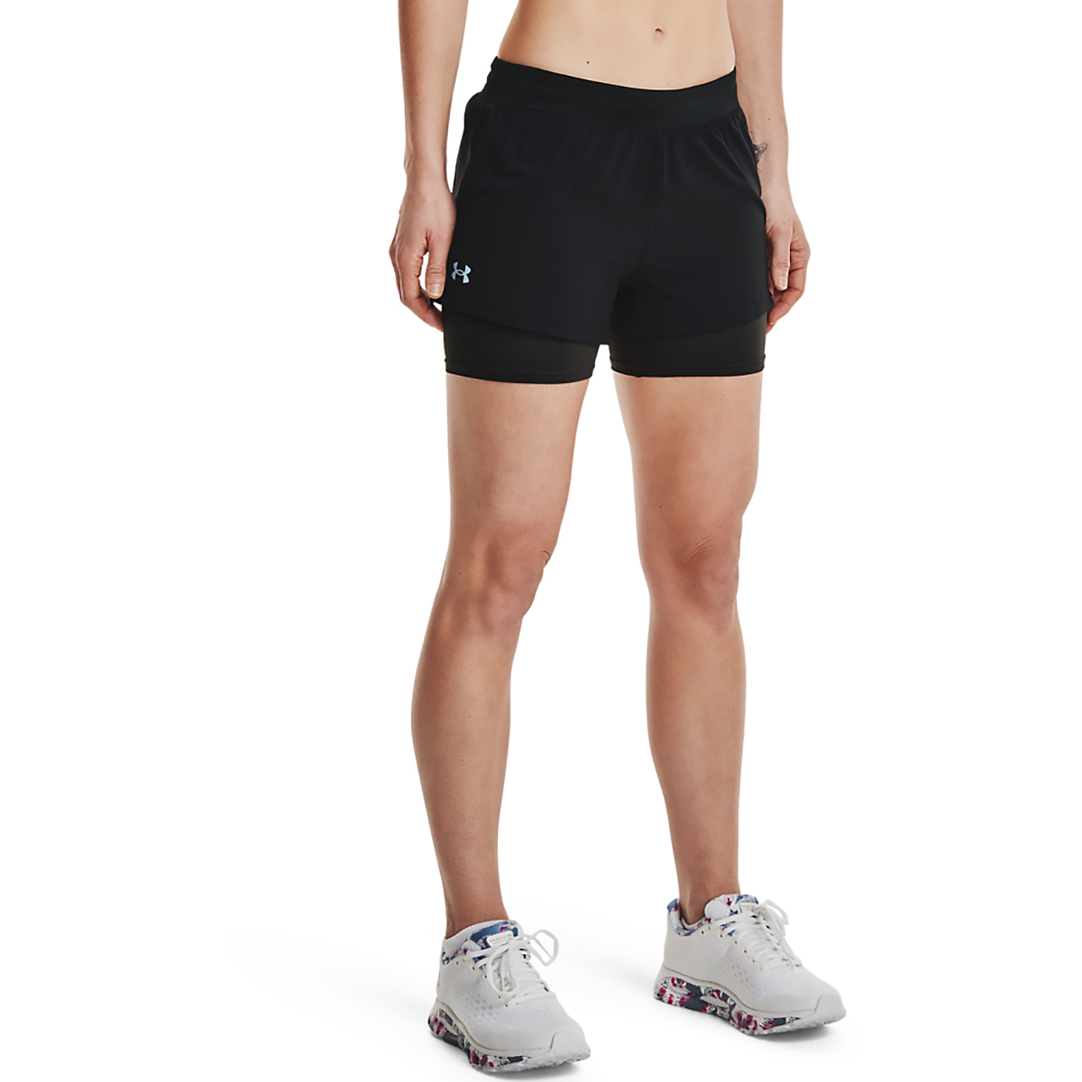 Women's Under Armour Isochill Run 2 in 1 Short - Color: Black/Black - Size: XS, Black/Black, large, image 1