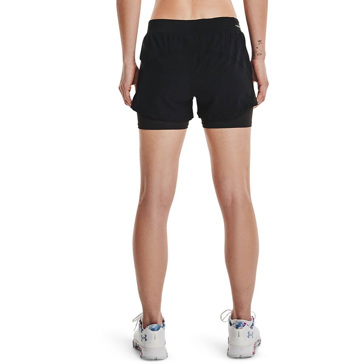 Women's Under Armour Isochill Run 2 in 1 Short - Color: Black/Black - Size: XS, Black/Black, large, image 2