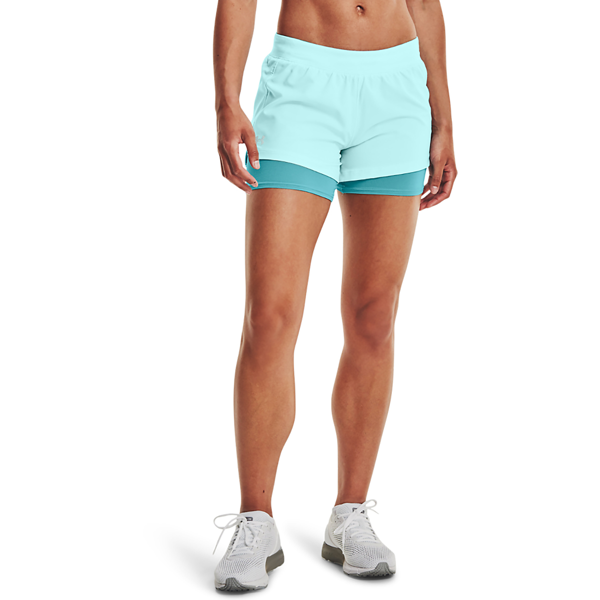 Women's Under Armour Isochill Run 2 in 1 Short - Color: Breeze Cosmos - Size: XS, Breeze Cosmos, large, image 1