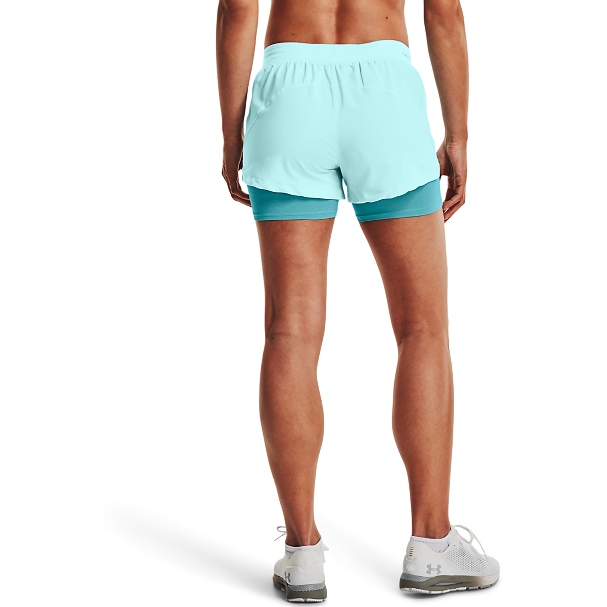Women's Under Armour Isochill Run 2 in 1 Short - Color: Breeze Cosmos - Size: XS, Breeze Cosmos, large, image 2