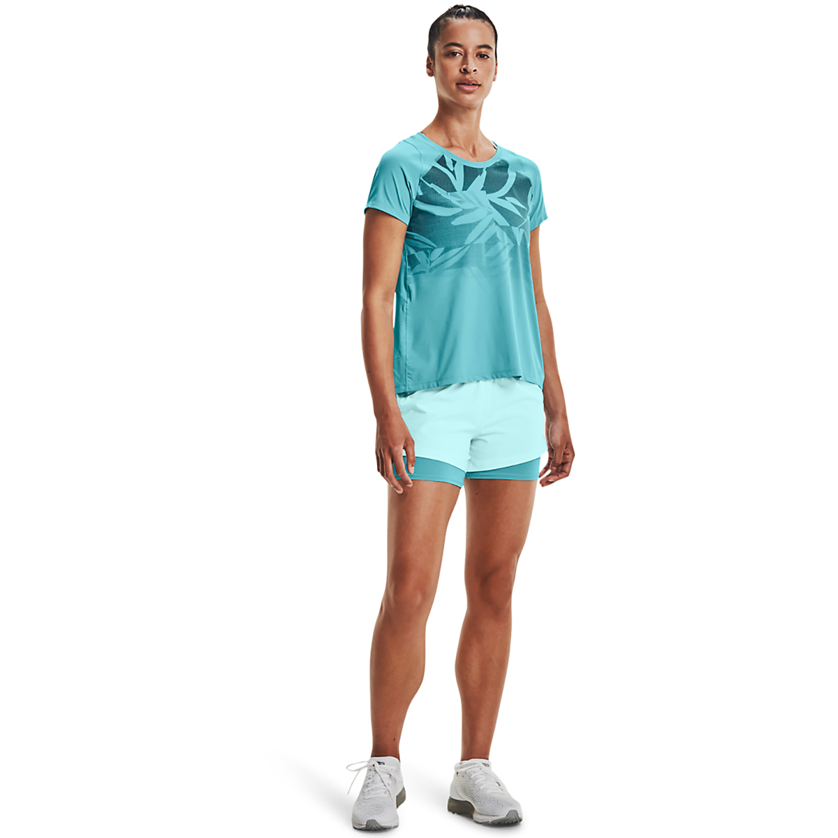 Women's Under Armour Isochill Run 2 in 1 Short - Color: Breeze Cosmos - Size: XS, Breeze Cosmos, large, image 3